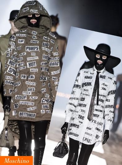 Loghi lettering Moschino sfilata 2018